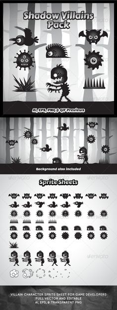 Villain Game Character Sprite Sheets  #graphicriver