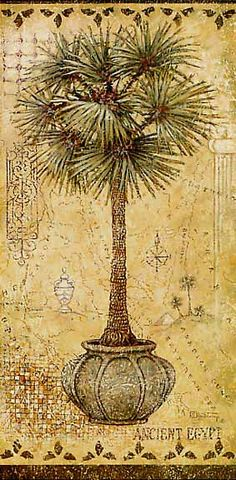 Global Palm 2, a painting of a potted palm tree on a hand painted map, one of Janet Kruskamp's Original Gouache and Rice Paper, by artist Ja...