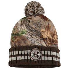 661dc7e59a9118 Men's Boston Bruins Old Time Hockey Camo/Brown Realtree Xtra Cuffed Knit  Hat With Pom