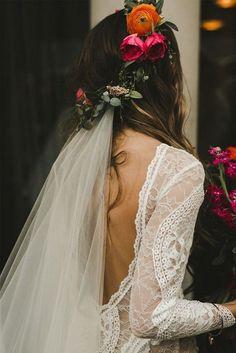 wedding hairstyle with flower crown and veil #wedding #weddinghairstyles #bridalfashion