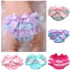 Kids Baby Girls Newborns Lace Ruffle PP Pants Shorts Bloomers Diaper Nappy Cover