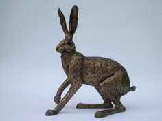 Paul Jenkins Startled Hare Sculpture|Buy Bronze Hare - Candle and Blue