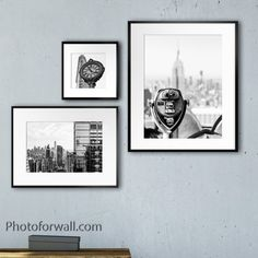 Wall Decor Set, Office Wall Decor, Decor Mural, New York Black And White, Black And White Prints, World Trade Center, Empire State Building, Art Mural Fashion, Personalized Wall Decor