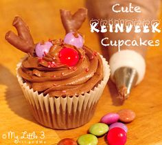 Chocolate Reindeer Cupcakes, a fun Christmas recipe for kids.