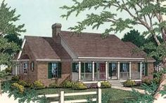Country Style House Plans - 2000 Square Foot Home , 1 Story, 3 Bedroom and 2 Bath, 2 Garage Stalls by Monster House Plans - Plan 2-200