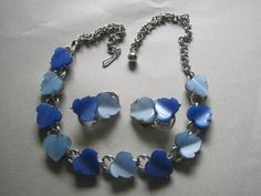 Vintage Lucite Necklace Set Blue Thermoset by MoonlightMartini