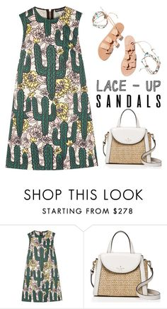 """Lace  Up Sandals"" by junglover ❤ liked on Polyvore featuring Ancient Greek Sandals, Markus Lupfer and Kate Spade"