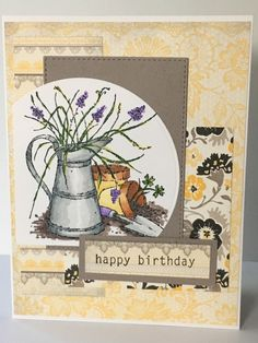 Gardeners Birthday by Jennifrann - Cards and Paper Crafts at Splitcoaststampers Homemade Birthday Cards, Homemade Cards, Long Time Friends, Milk Cans, Stamping Up, Card Designs, Flower Cards, Stampin Up Cards, Gift Bags