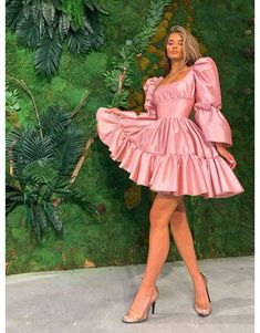 Pink Satin Dress, Satin Dresses, Rose Dress, Dress Up, Ball Dresses, Evening Dresses, Short Dresses, Stylish Outfits, Cute Casual Outfits