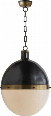 "Extra Large Hicks Round Pendant      Extra large hicks round pendant in bronze & hand-rubbed Aatique brass with white glass  H: 22"" W: 16'  Canopy: 5"" round"