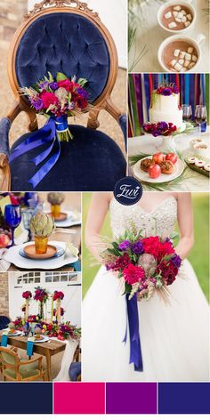 navy and ruby red inspired jewel toned wedding color ideas