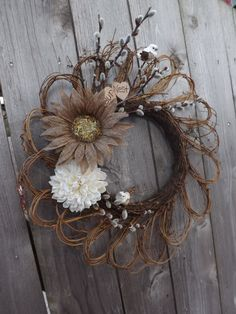 Fall Autumn Grapevine Wreath Personalized Wood by SendInspirations, $40.00
