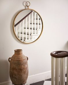 A quirky large round copper mirror in a fob watch style. Makes an eye-catching wall mirror for hanging as a hallway mirror, or in a living room, bedroom or bathroom. Mirror Table, Round Wall Mirror, Mirror Decor, Chic Mirror, Copper Frame, Copper Mirror, Frames On Wall, Living Room Mirrors, Flat Ideas