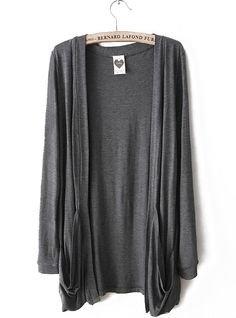 Dark Grey Long Sleeve Pockets Cardigan Sweater - Sheinside.com