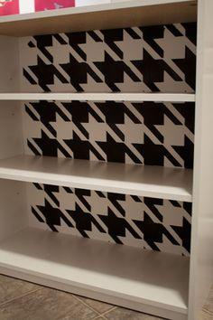 Stencil the back of a cheap book shelf to make it super cute!