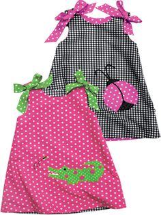 reversible alligator & ladybug dress