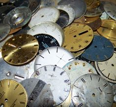 50 Watch Faces Old Dials Assorted Lot of 50 Large Pieces Steampunk Jewelry, Art, Crafts, Assemblage