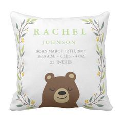 Woodland Forest Delivery Stats - Bear Nursery Pillow. >> Learn even more by checking out the photo link
