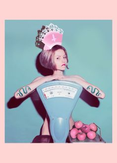 MARLA SINGER PHOTOGRAPHY - YEVA  For more of my recent work please check https://www.facebook.com/marlasingerphotography http://marlasingerphotography.tumblr.com/ and marla.lt/ #apples #girl #pink #blue #vintage #short_hair #paper #crown #naked #nude #nudity #tatoo #snake #ink #inked #fruit #scales #religious #make_up #fashion #photography #Marla_Singer #Marla_Singer_photography #cyan #skinny #cross #model #female_model #colorful #surreal #surreal_art #surrealism #orginal_photographer #bible