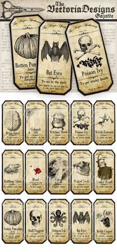 Small Halloween Apothecary Labels printable potion paper craft
