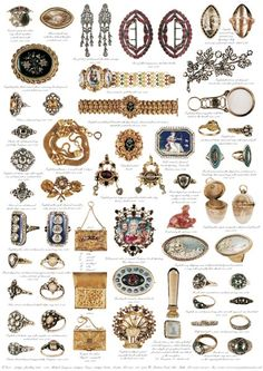 Antique Jewellery 1690 - 1830  Diamond rings, gold, enamel, paste, garnet, silver and citrine make up the jewels on this paper. They are in the collection of Michael Longmore, who has a stand at Gray's Antique Centre in London. A small vinaigrette would have been a love token circa 1800. The precious stones spell out the work REGARD, Ruby, Emerald, Garnet, Amethyst, Ruby, Diamond.