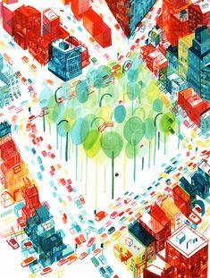 """Parc Lafontaine, Montreal, by Mugluck Tiny Showcase Illustration Sketches, Graphic Illustration, Illustrations Posters, French Illustration, Watercolor City, Watercolour, Parcs, Design Art, Graphic Design"