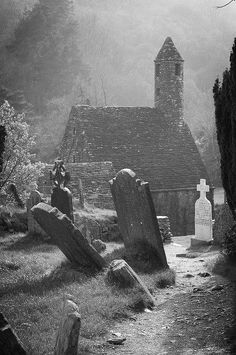 A monochrome version of   St. Kevin's church ruin in Glendalough, County Wicklow, Ireland. Full colour photo: Architecture @archpics   Rachel Lotze Retweeted