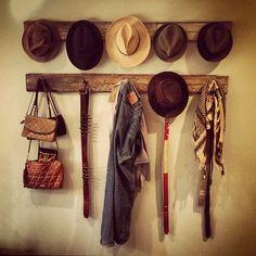 reclaimed wood hat-rack