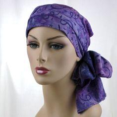 Purple Chemo Turban Hat Head Wrap Alopecia Scarf Batik Stars, Hat & Scarf Set
