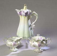 3-PIECE HAND-PAINTED PRUSSIAN CHINA TEA SET