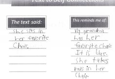 Comprehension: Text to Self Connection - use it for conversation rather than worksheet