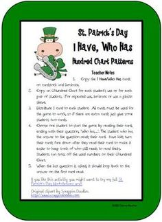 Students practice hundred chart relationships (1 more, 1 less, 10 more, 10 less) with this set of 30 I Have/Who Has cards.If you like this free...