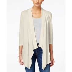 Style & Co. Draped Cardigan, ($40) ❤ liked on Polyvore featuring tops, cardigans, stonewall, drape front top, drape cardigan, white top, drapey top and white cardigan