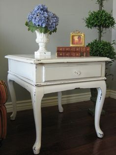 Inspiration French Provincial end tables. Antique white, distressed.