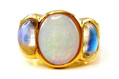 Gold Barcelona Ring with Opal and Blue Moonstones