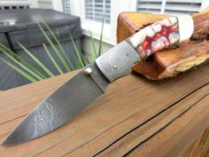 Damascus Folder, Fossil Mammoth Ivory Tooth, Very Rare Blood Red, Custom Handmade Pocket Knife, Custom File Work, Leather Sheath.