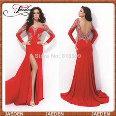 New Red Mermaid Evening Dresses With Long Sleeves Sexy Open Back Front Slit Beaded Crystals Top Formal Long Evening Gowns 2014 $147.00