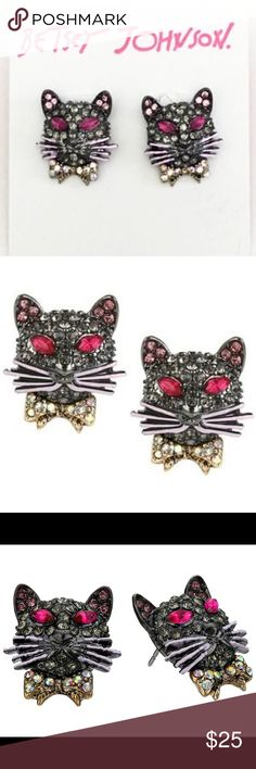 Betsey Johnson Dark Shadows Cat Earrings Studs Genuine Betsey Johnson, brand new on card with tag.  Never worn.  Collectible! Betsey Johnson Jewelry Earrings