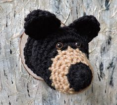 Faux Taxidermy Bear Head crochet woodland animal  by outofthedoor