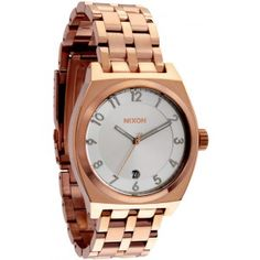 Nixon Men's Chronicle Quartz Gold-tone Stainless Steel Bracelet Watch Cool Watches, Watches For Men, Nixon Watches, Rose Gold Watches, Snowboards, Stainless Steel Bracelet, Gold Jewelry, Jewellery, Bracelet Watch