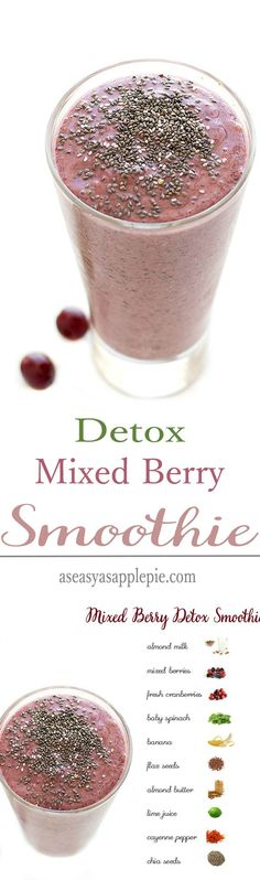 This Mixed Berry Detox Smoothie is super healthy, packed with good for you ingredients, refreshing, and it tastes great too.