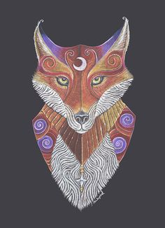 Tenth in the Totem series, the enigmatic fox represents cunning and swift thinking, intelligence and a fun loving nature. Art by Jezhawk Designs aka Jennifer Hawkyard