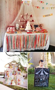Vintage Circus Theme first birthday with a DIY light up marquee, cupcake ferris wheel, popcorn box floral centerpieces, and a circus elephant smash cake!