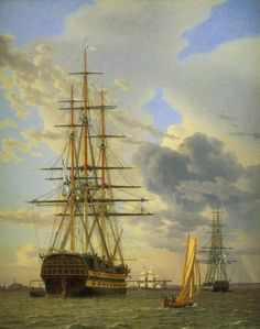 """Christoffer Wilhelm Eckersberg, The Russian battleship Azov and a frigate moored at Elsinore"""", oil on canvas, 63 x 51 cm. Statens Museum for Kunst. Photo: SMK - The National Gallery of Denmark. Helsingor, Old Sailing Ships, National Gallery, Ship Of The Line, Naval, Ship Paintings, Nautical Art, Nautical Marine, Tall Ships"""