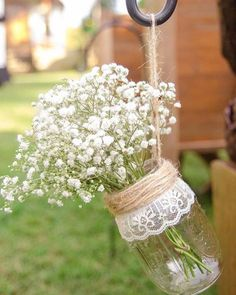 rustic mason jars and candles wedding centerpiece ideas, vintage rustic wedding decor Image source Rustic country wedding ideas – mason jar wedding centerpieces & decor / Image source Hanging Mason Jars, Mason Jar Vases, Hanging Vases, Rustic Mason Jars, Wedding Mason Jars, Mason Jars For Weddings, Rustic Vases, Mason Jar Centerpieces, Centerpiece Ideas