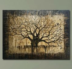HUGE Bare Tree Painting  Bare Branches  Spooky by BrittsFineArt