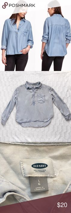 """{Old Navy} Boyfriend Chambray Top This chambray top is beautiful. It's made of a soft chambray material, a slightly loose fit is perfect for comfort and the """"boyfriend"""" look! Women's size Large but I think it would still fit a M-S very nicely with a more baggy look. Old Navy Tops Blouses"""