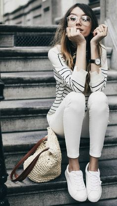 Beatrice Gutu + adorable preppy style + striped sweater + white jeans + matching white sneakers + neutral colours + authentic sailor girl look! Outfit: Marks & Spencer's.