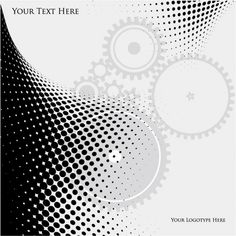 Gears in black and white abstract background