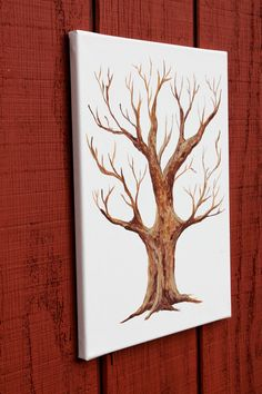Hand Painted Thumbprint tree guestbook blank canvas wedding or shower guestbook for guests thumb prints and signatures family tree Small Canvas, Blank Canvas, Thumbprint Tree, Fingerprint Tree, Renewal Wedding, Thumb Prints, Woodland Wedding, Wedding Guest Book, Xmas Gifts